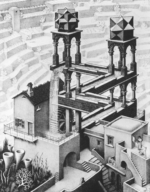 What Escher never told anyone is that the girl is doing that guys laundry.  And the guy is doing the girl.